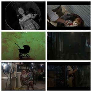 Each row, left to right: Talky Tina from Living Doll by The Twilight Zone vs. Annabelle; The Pram from Rosemary's Baby vs. The Pram from Annabelle; The Basement from Rosemary's Baby vs. The Basement from Annabelle.